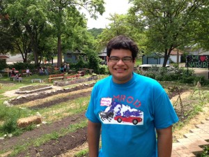 Marcos on the first day of the summer program 2013 in the West Side program.