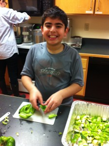 Jafar cutting peppers!