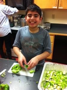 Jafar cutting peppers!
