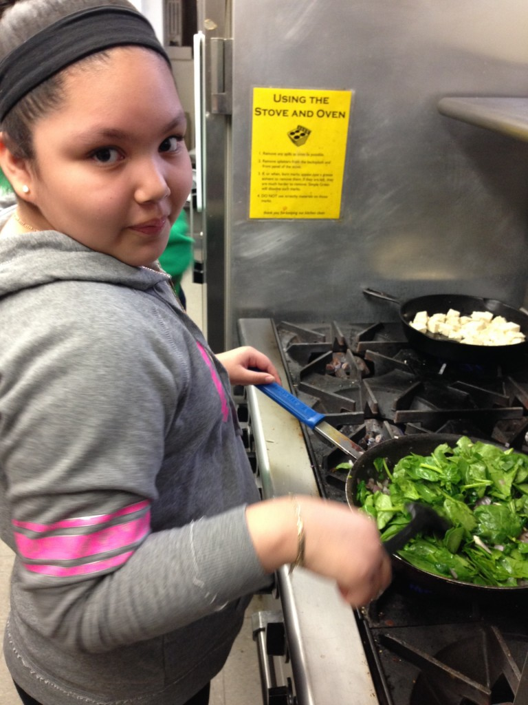 Kimberly cooks up our spinach for Spanakopita