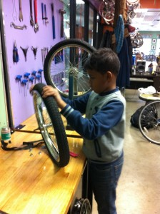 Youth Farmers worked on bikes with help from Cycles for Change.