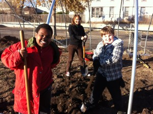 Joe and Brandon helping Nora build the Lyndale School hoop house in fall 2012