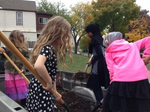 Lyndale Students unloading compost this fall