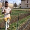 New Farm Steward Demetrius practiced bed prepping, seeding, and trellissing snap peas in Lyndale